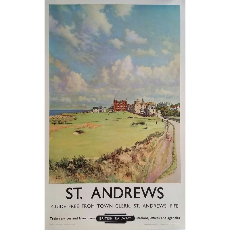 Affiche ancienne originale St Andrews Golf Royal and Ancient British Railways MCINTOSH