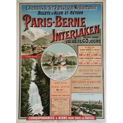 Affiche ancienne originale PLM Paris Berne Interlaken