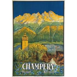 Affiche ancienne originale CHAMPERY Valais Suisse KUNZER