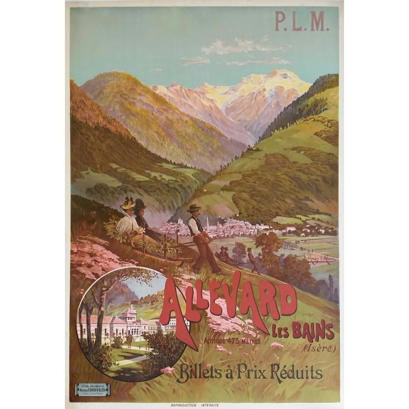 Affiche ancienne originale Allevard Les Bains PLM Hugo d'Alési