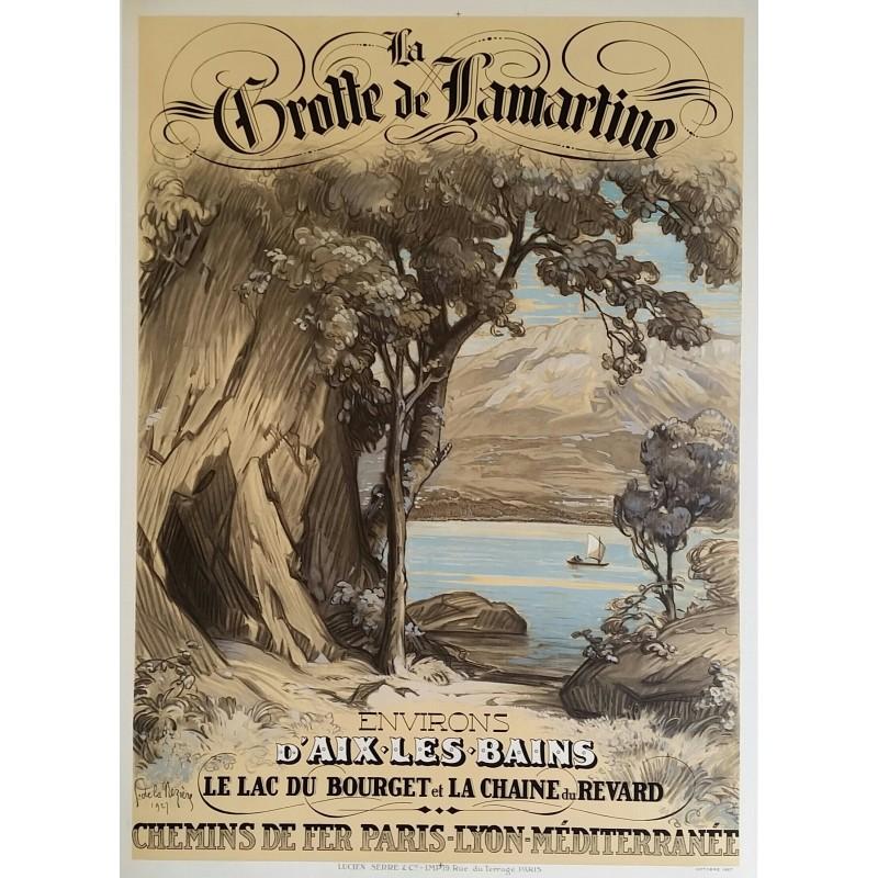 Affiche ancienne originale Aix Les Bains Grotte de Lamartine Lac Bourget Revard
