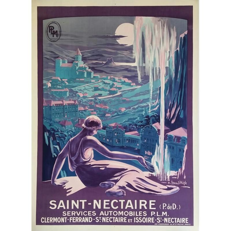 Affiche ancienne originale Saint-Nectaire IRAN D'AIGLE PLM