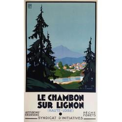 Affiche ancienne originale Le Chambon sur Lignon PLM Pierre COMMARMOND