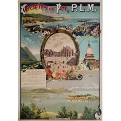 Affiche ancienne originale PLM vallée de Suse Gênes Milan Turin Lac Majeur CUSSETTI