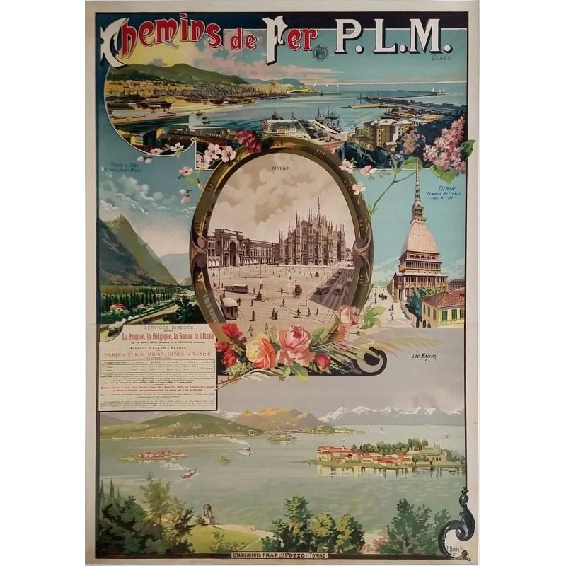 Original vintage poster PLM vallée de Suse Gênes Milan Turin Lac Majeur CUSSETTI