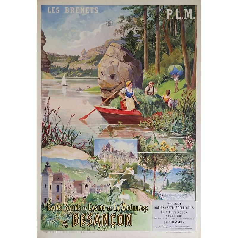 Affiche ancienne originale Besançon Les Brenets PLM TANCONVILLE