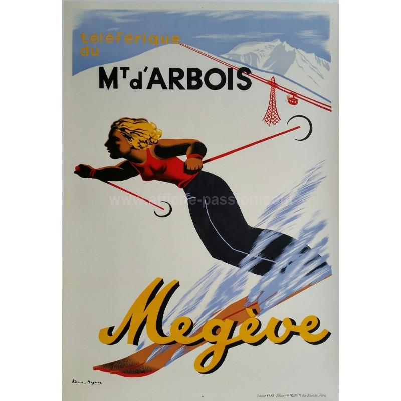 Affiche ancienne originale ski sports d'hiver Mégève téléférique du Mont d'Arbois - KAMA - Karl MACHATSCHEK