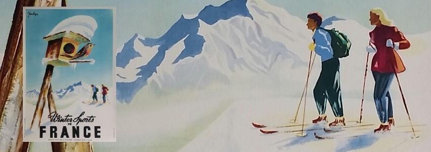 Sports d'hiver Affiches anciennes originales de ski, sport d'hiver, de station de sport d'hiver