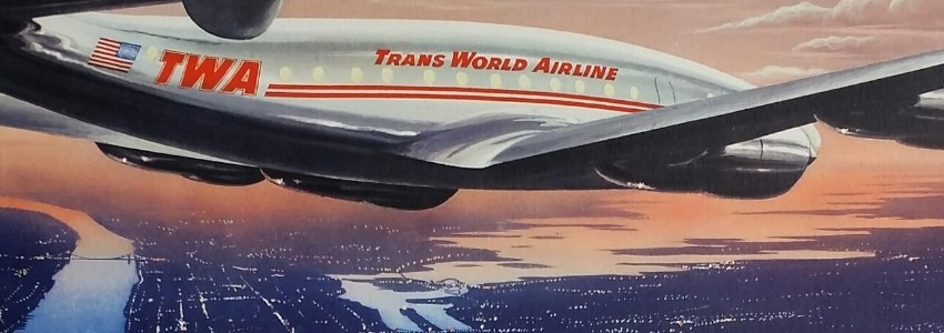 Affiches anciennes originales des compagnies aériennes comme Air France, United Airlines, TWA,Swissair, Braniff, Pan American, American airlines, Lignes Farman, Air Union, Air Orient, ...